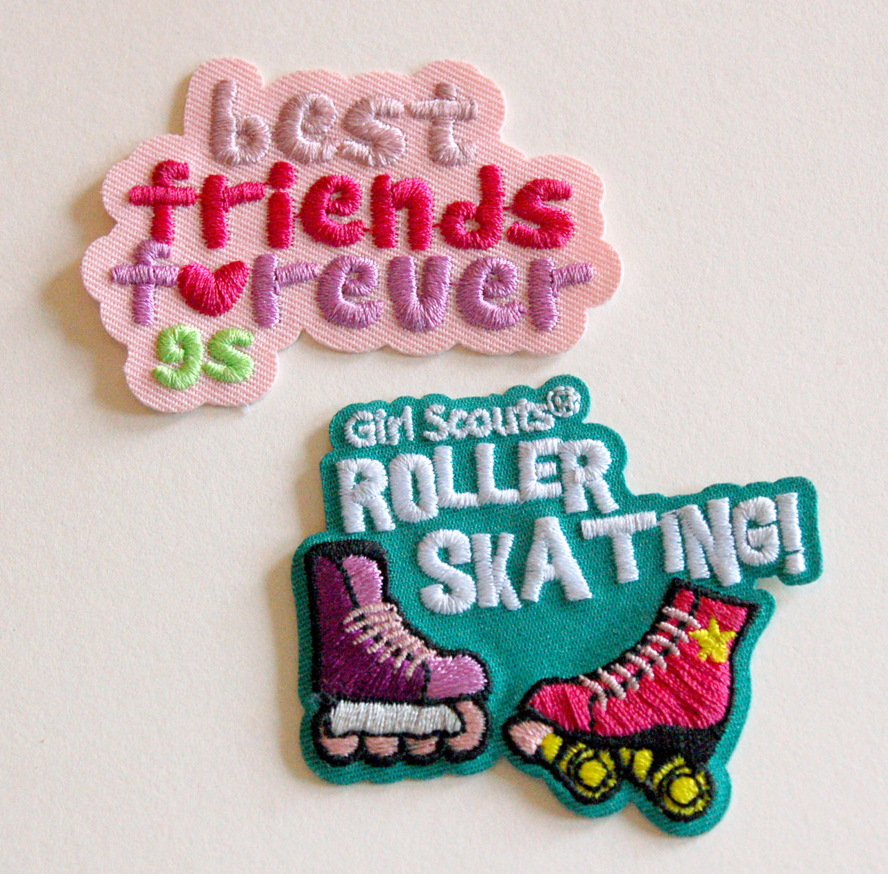 Girl Scout Fun Patches roller skating and best friends forever