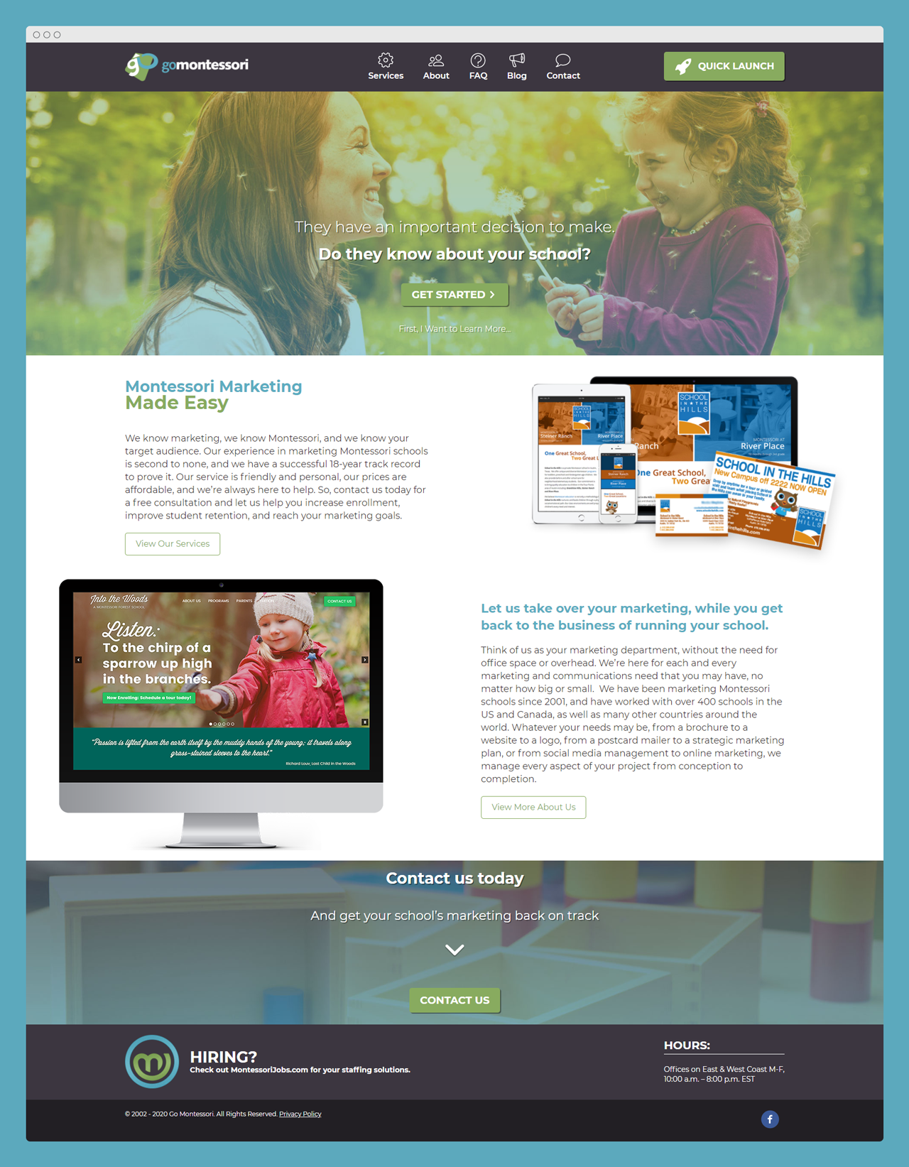Go Montessori website design