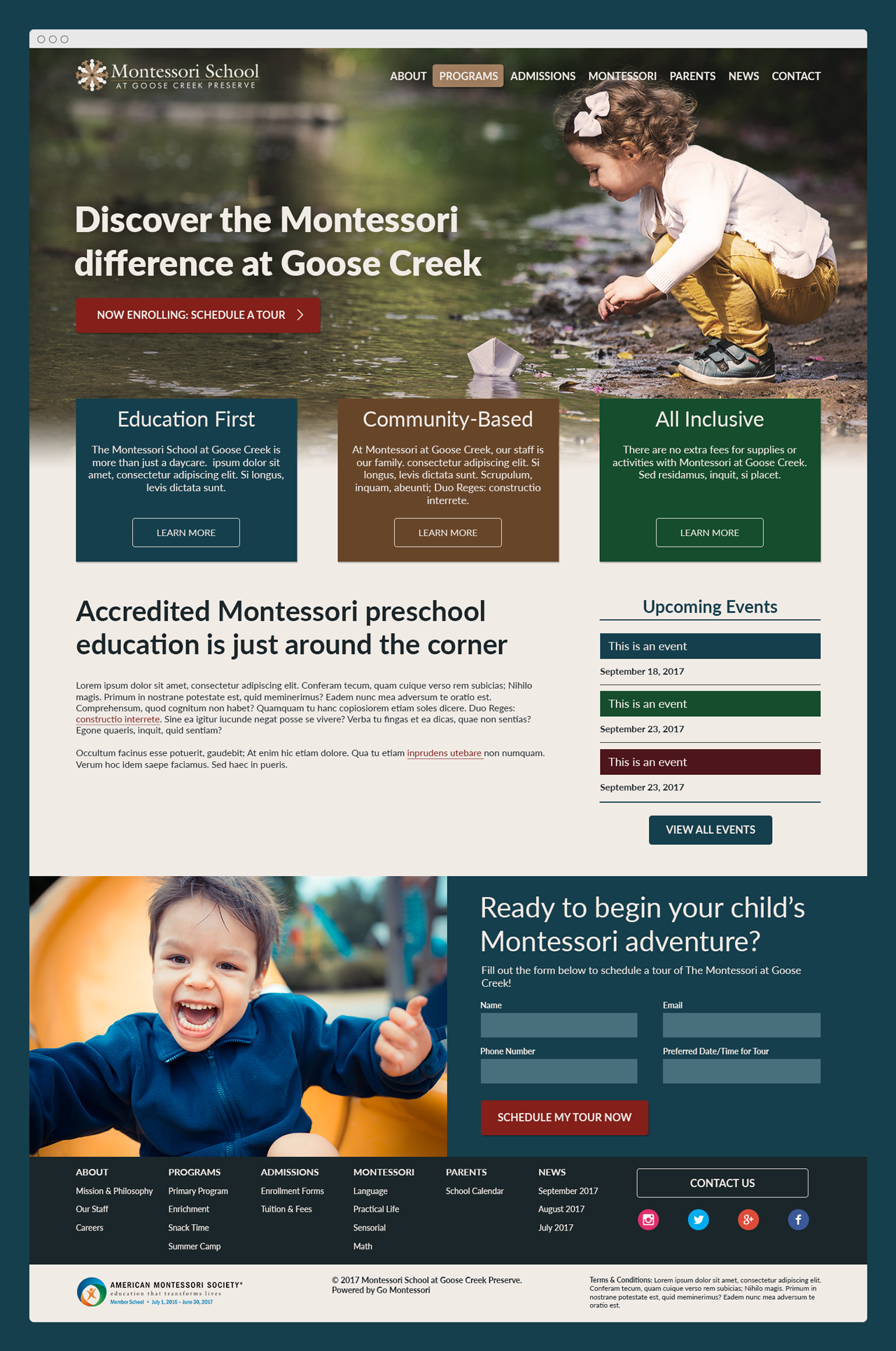 Go Montessori custom site design for Goose Creek Montessori School