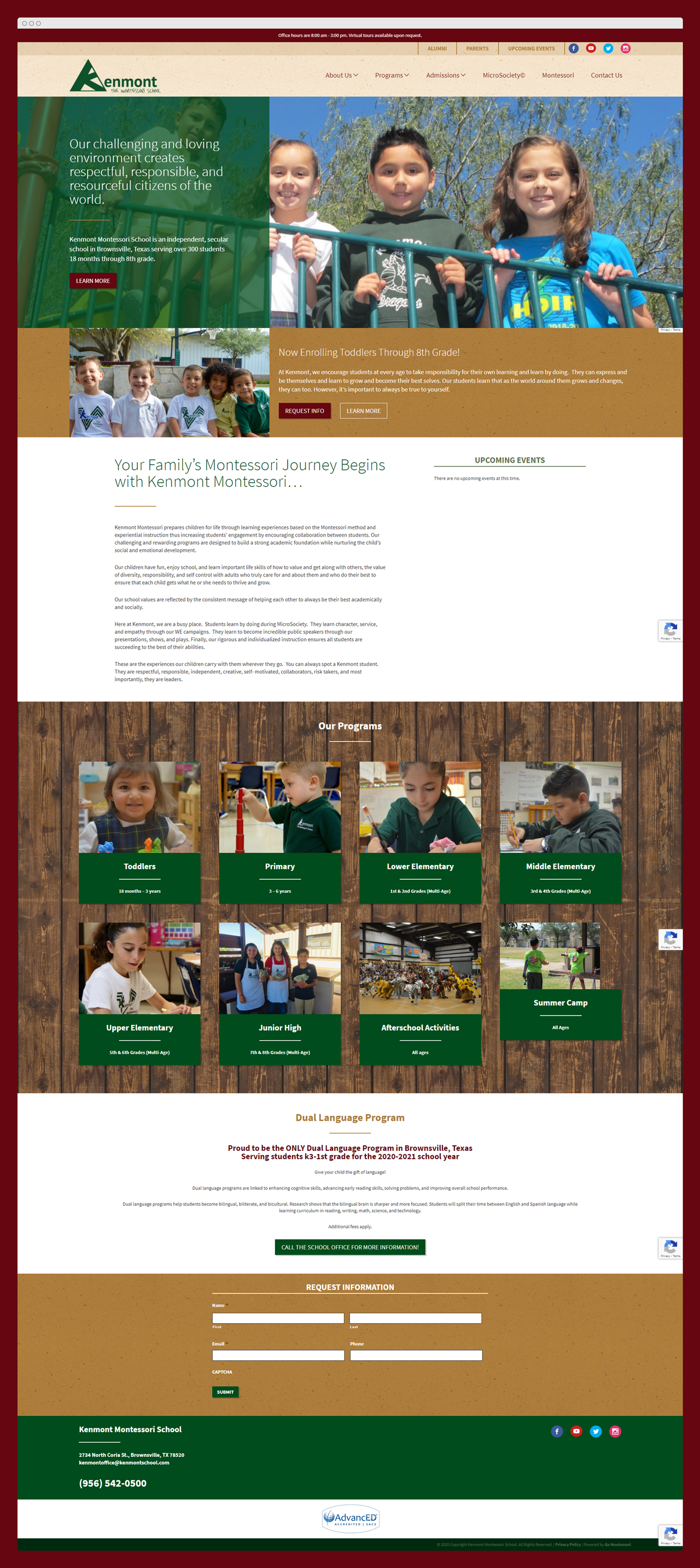 Go Montessori custom site design for Kenmont Montessori School