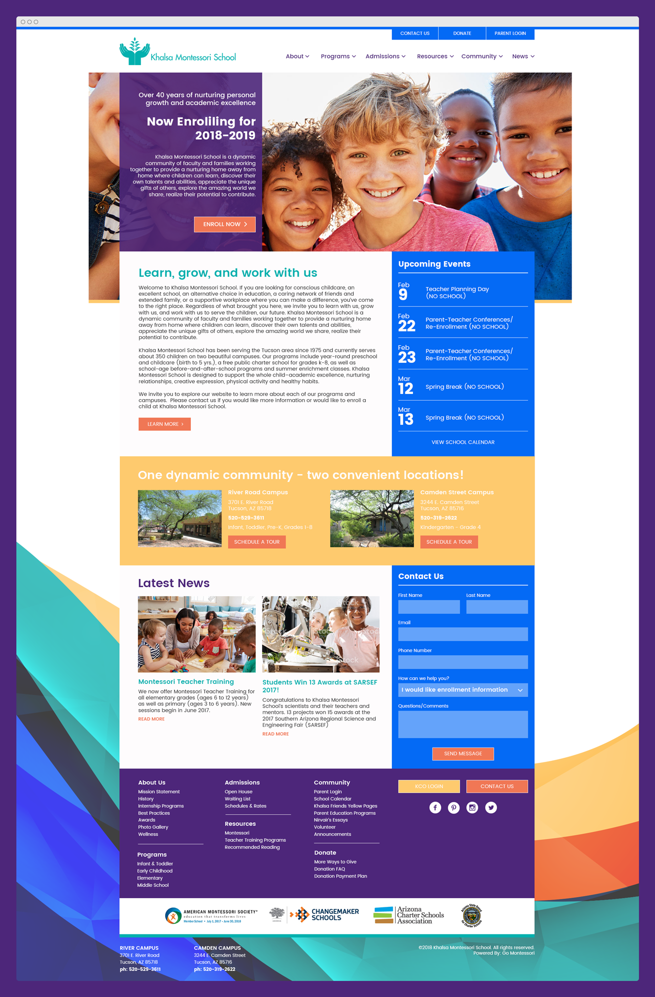 Go Montessori custom site design for Khalsa Montessori School