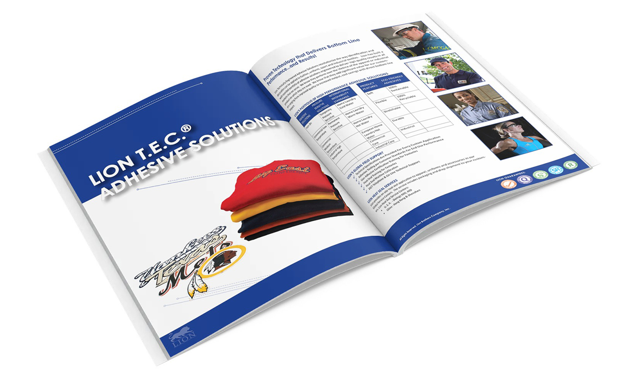Lion Brothers Products & Services booklet spread mockup