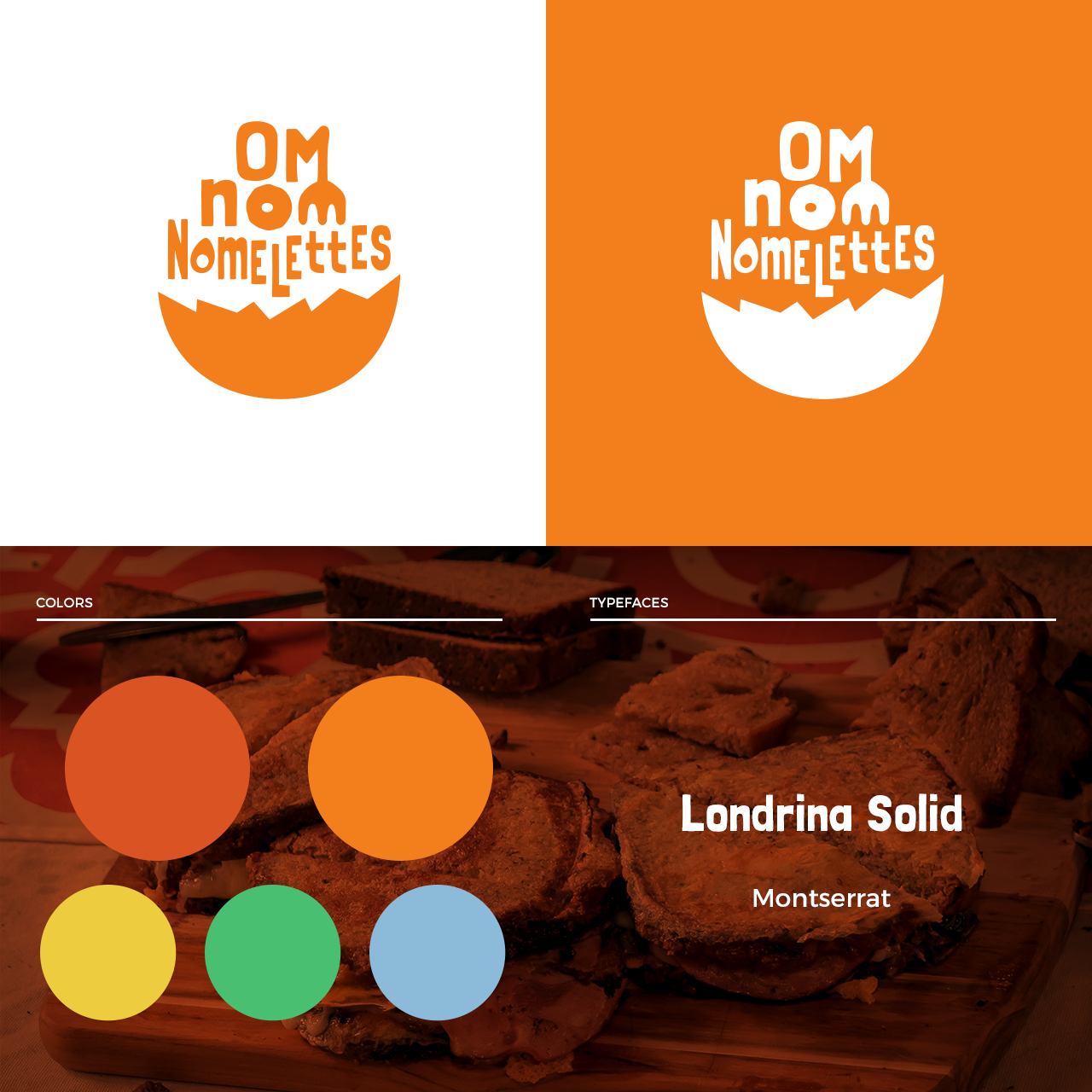 Om Nom Nomelettes branding layout with colors and typefaces
