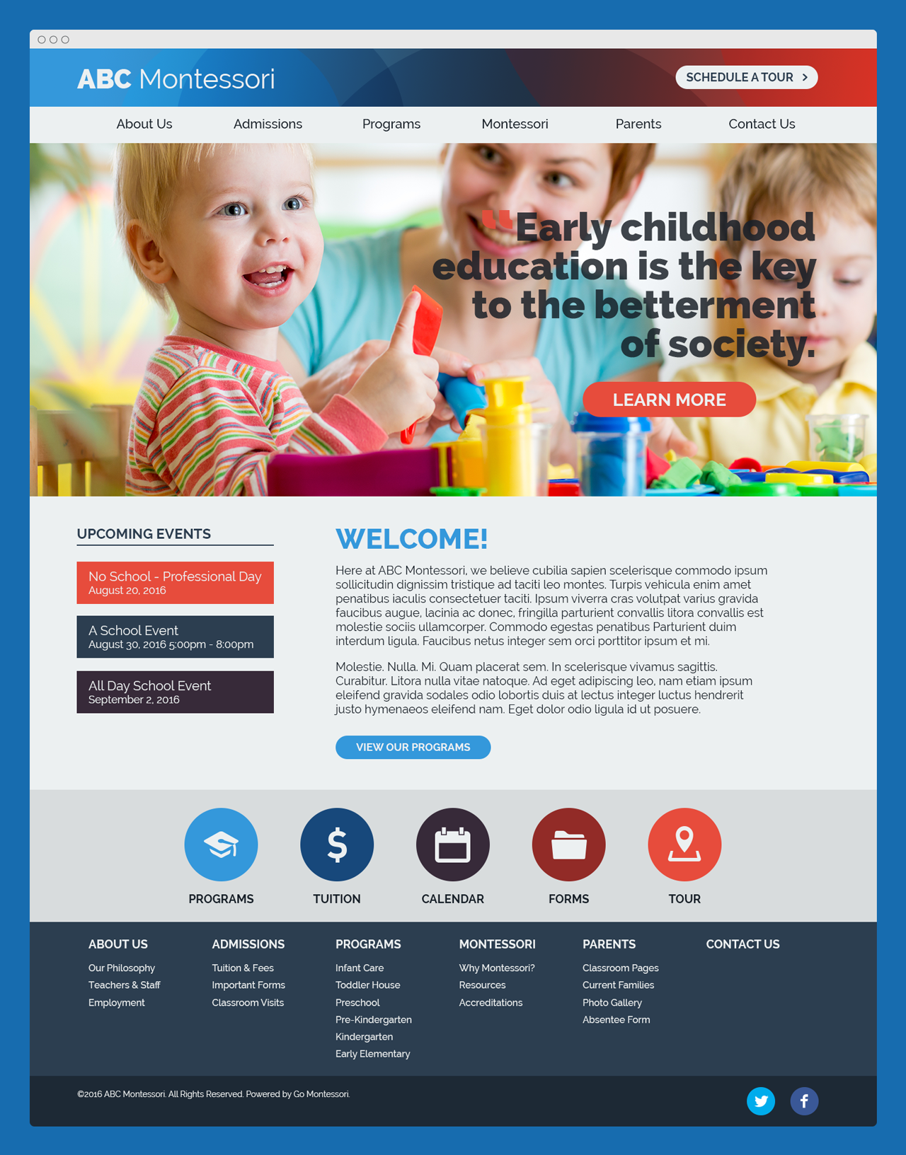 """Brin & Page"" Go Montessori Quick Launch Parent Theme"