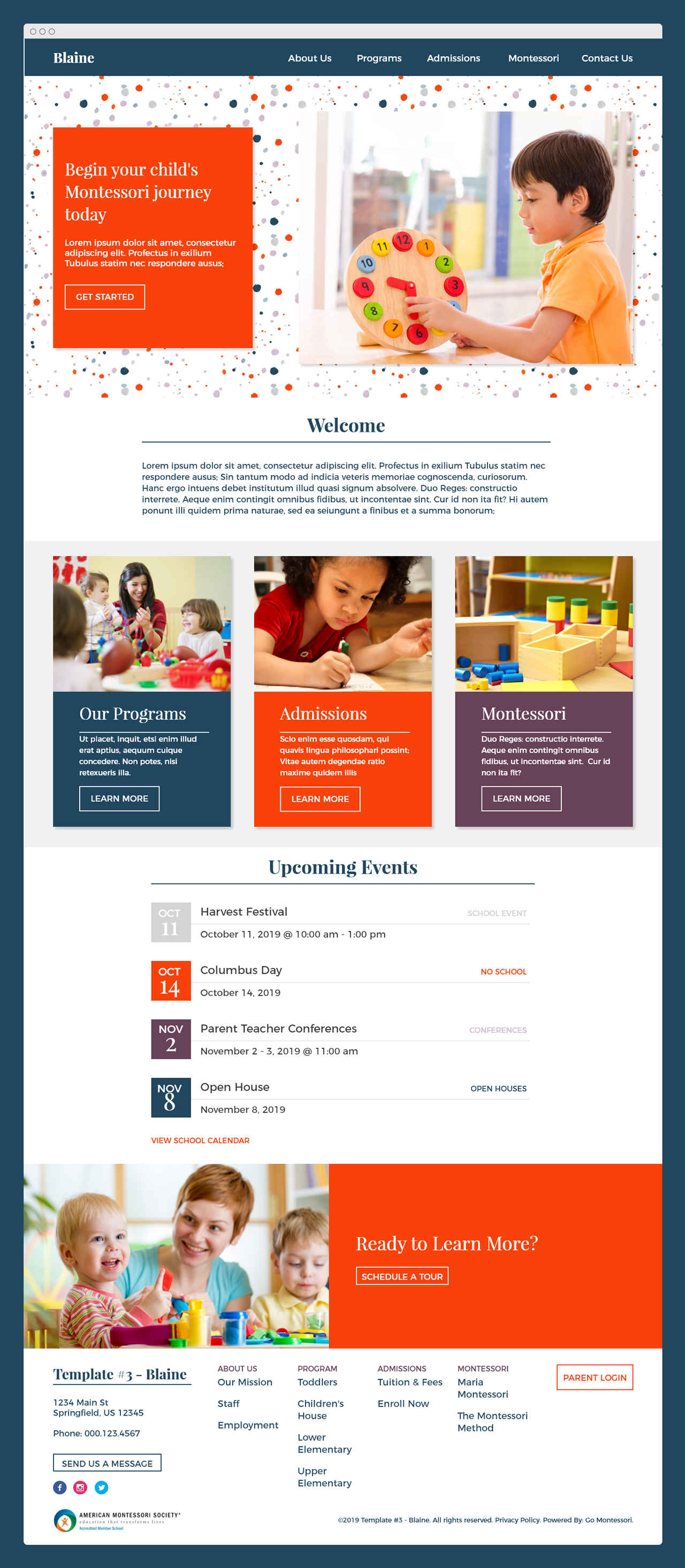 """Blaine"" Go Montessori Quick Launch Parent Theme"
