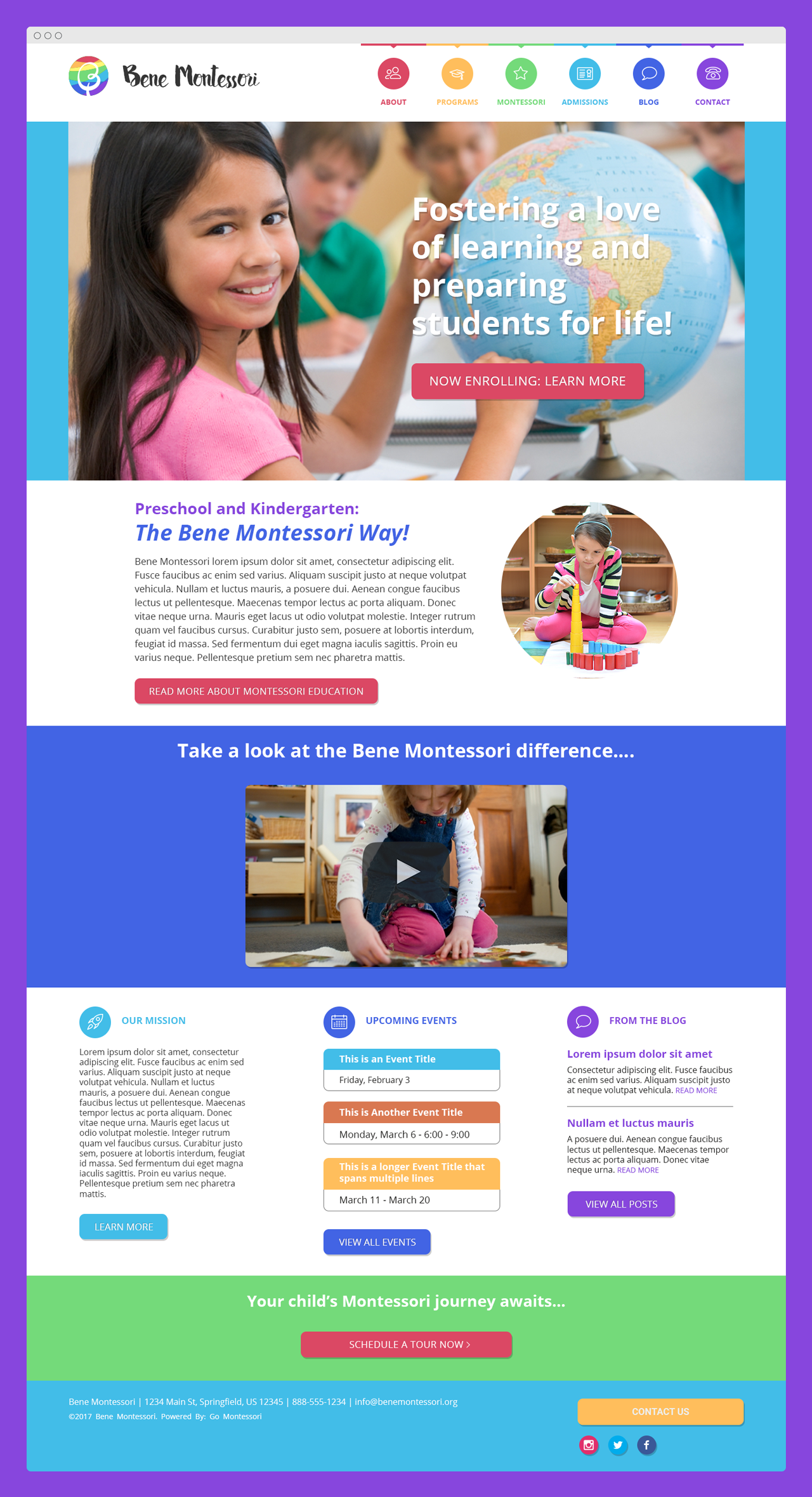 """Julia"" Go Montessori Quick Launch Parent Theme"