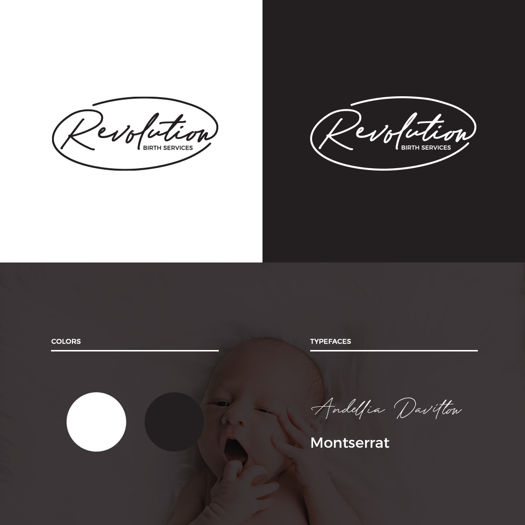 Revolution Birth Services branding with logo alternatives, brand colors, and typefaces by Sarah DaSilva